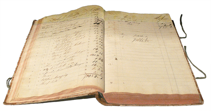 old withered bookkeeping book