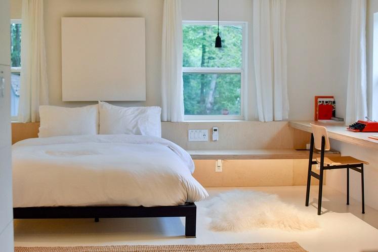 a model bedroom for a rental