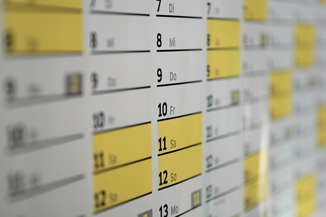 calendar with specific highlighted cells